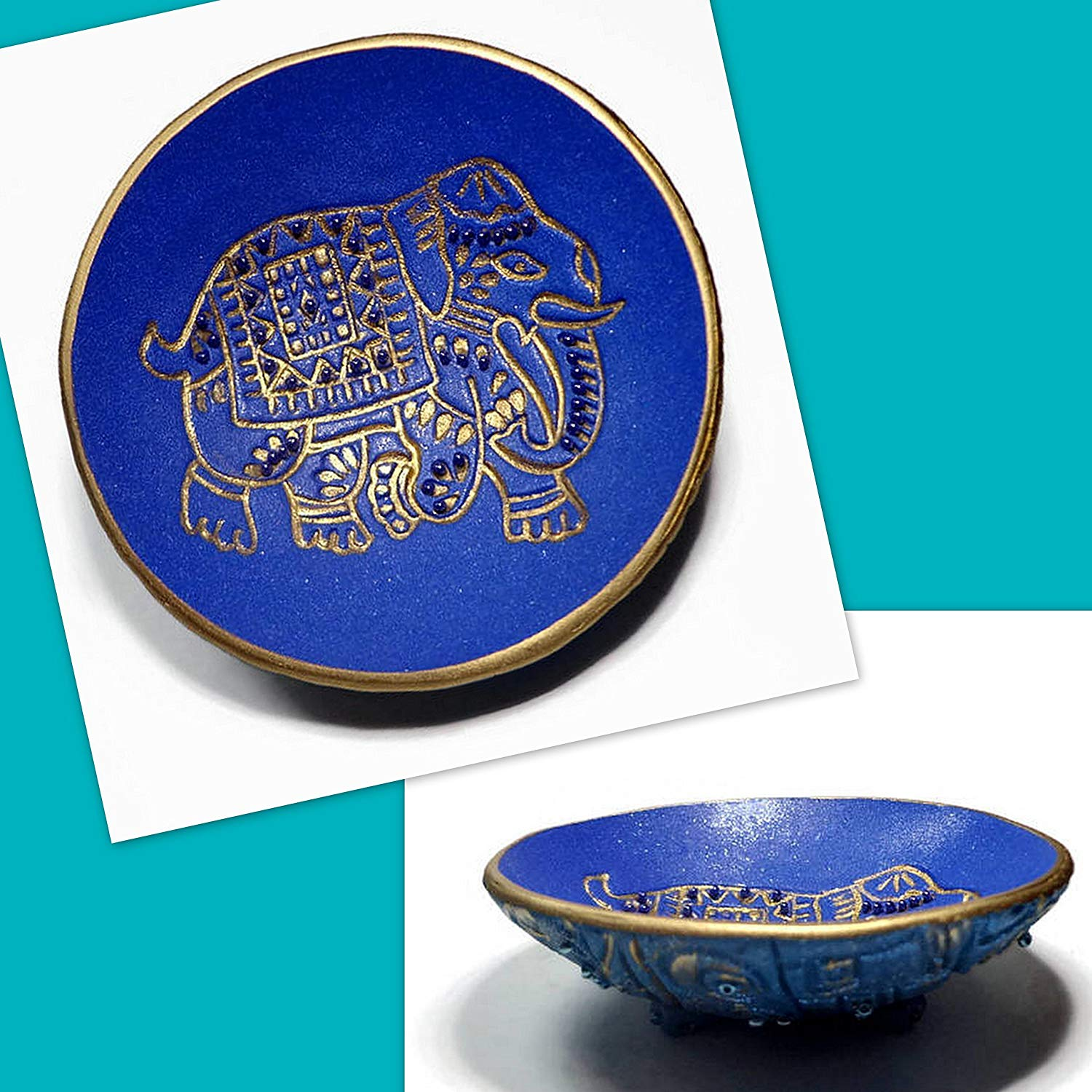 Boho Blue Elephant Ring Dish- Handmade Jewelry Holder-Trinket Dish- Polymer Clay Dish- Home Decor- Gifts for Home- Moroccan Ring Dish