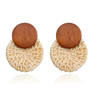 New design korean handmade rattan wooden fancy stud earrings