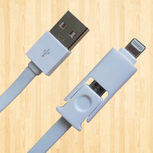TPU/PVC 2 in 1 USB CABLE/Cell Phone Charger Cable /Flat noodle Micro USB Data Cable