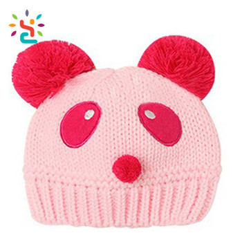 3996cc5f5 Children's Knitted Hat Winter Baby Girls Panda Hats Beanies With Custom  Embroidery Knitted Hat With Two Balls - Buy Double Balls Beanie Hat,Beanies  ...