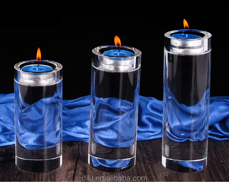 SIMPLE GLASS CONTAINERS FOR CANDLES ANTIQUE  CRYSTAL ROUND CANDLESTICK CANDLE HOLDER FOR WEDDING HOME DECOR CRYSTAL CANDELABRA