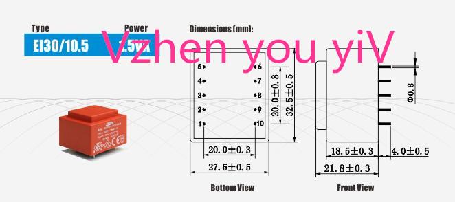 seladas 1.5VA transformador 230 v para 12