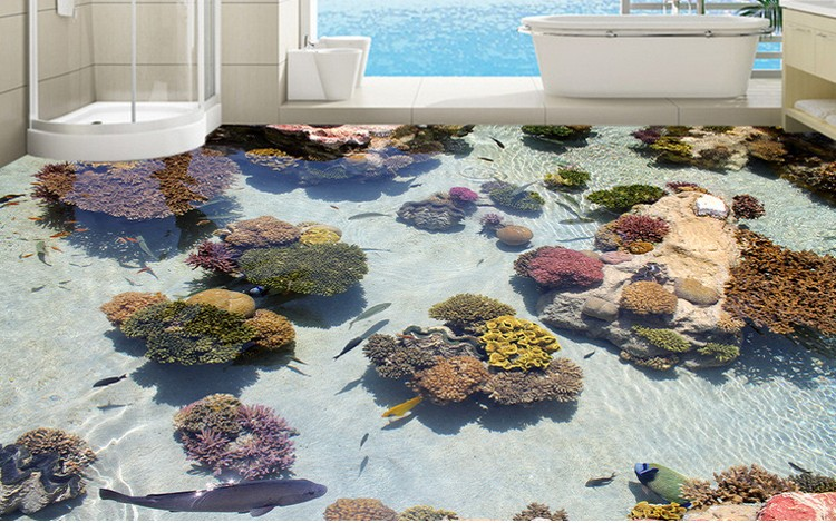 Bathroom tile floor sticker with 3d picture pvc materials for Epoxy boden 3d