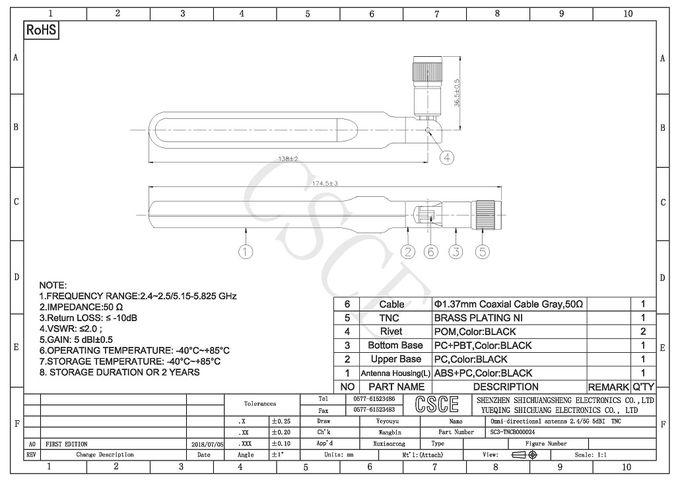 5dBI दोहरी बैंड ओमनी दिशात्मक एंटीना 2.4/5.8 Ghz के साथ टीएनसी कनेक्टर