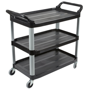 Factory Price 3 Tiers Plastic Service Cart Plastic Food Trolley Cart