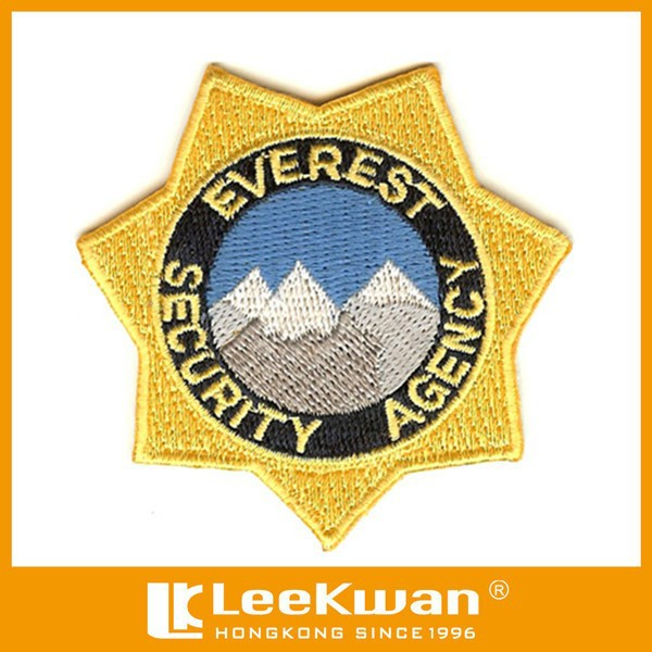 custom embroidery design of security agency iron-on patches/shoulder magic sticker -on badge/custom navy uniforms emblem