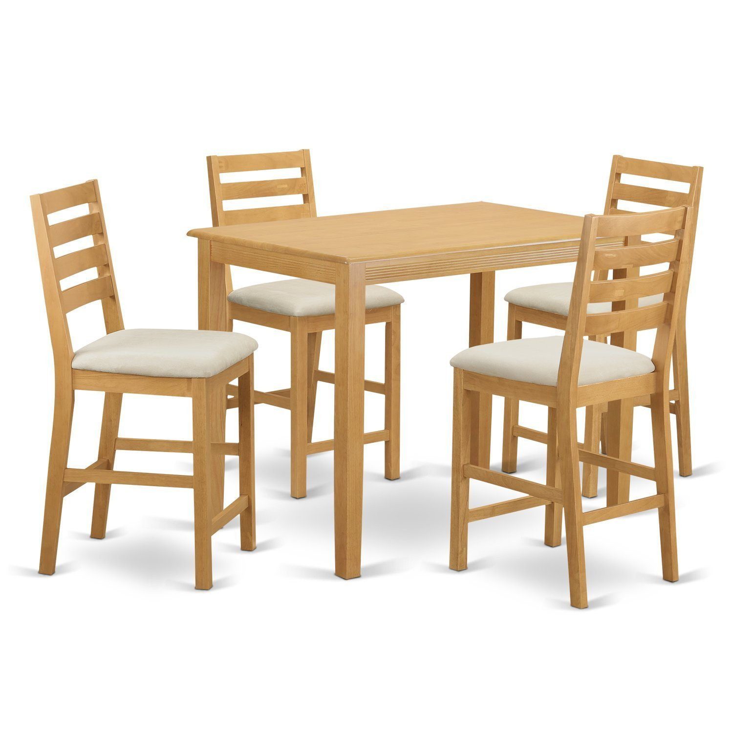 East West Furniture YACF5-OAK-C 5 Piece Counter Height Table and 4 Bar Stools Set
