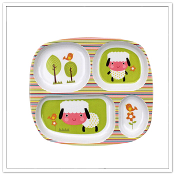 Cute cartoon print BPA free 4 sections melamine dinner plate
