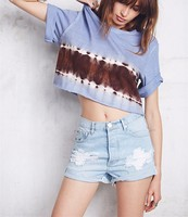 2015 New Japanese Sports Clothing Summer Tie Dye Printed Casual Loose Ladies T Shirts NT6176