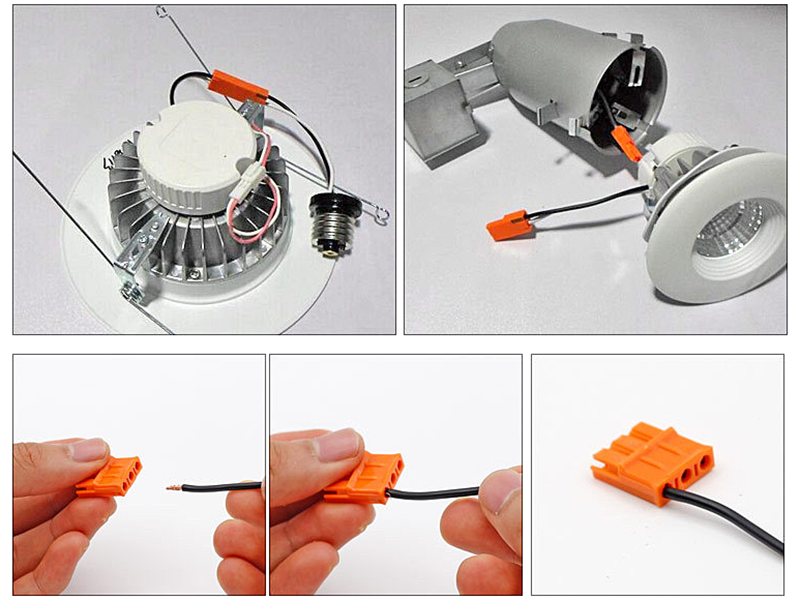 QWT plastic orange electric push in terminal type 823-3 wire joint led lighting connector