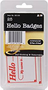 "Hello Badges Labels 25 Piece Set - 2.3125"" x 3.3125"" 1 pcs sku# 674159MA"