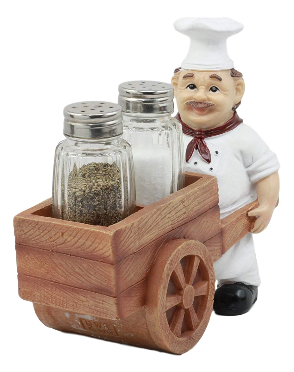"""Ebros Spice A La Carte Delivery Master Iron Chef Pushing Wheelbarrow Cart Salt And Pepper Shakers Holder Figurine Statue 6.5""""Long"""