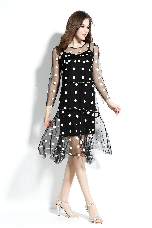 77c0689c3 Tamaño  personalizar Gasa de dos piezas conjunto pequeño DOTS mujeres  vestido manga larga diseño de lujo vestidos corte