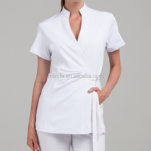 Wholesale Online Lady Custom OEM Fashion New Design Clothing Factory Thai Wrap Model Tunic Blouses Shirt Tops Woman Spa Uniform