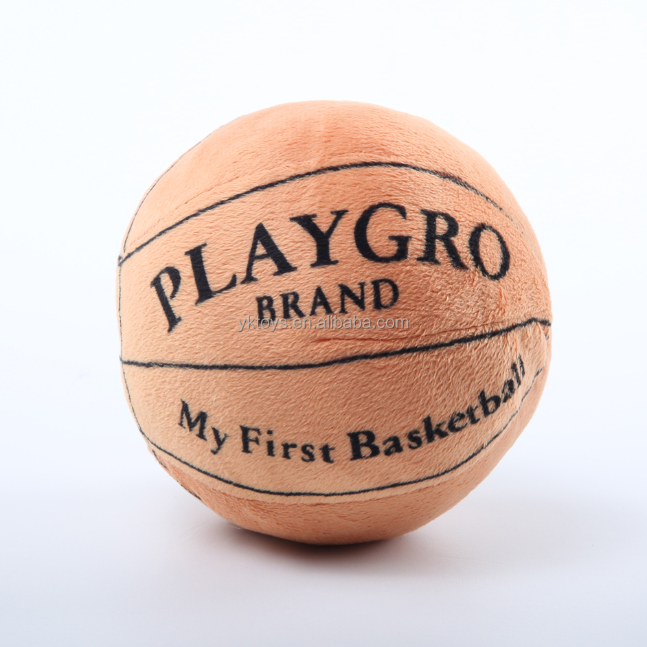 Customize stuffed basketball toy soft basketball shape plush toy with small bell inside