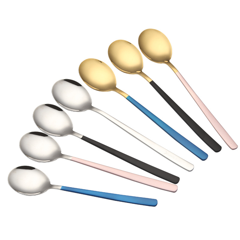 304 Stainless steel Colorful Gold/Blue/Black/Pink/Silver Spoon
