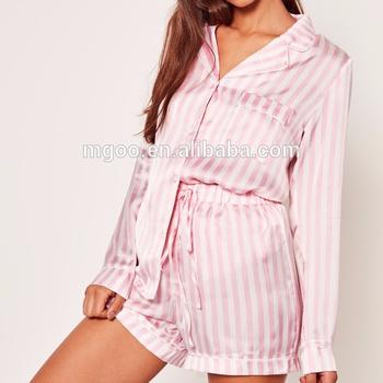 Hot Sale Women Striped Pyjama Set Pink Satin Sleepwear Long Sleeve Buttons  Pajamas With Elastic Waist 068959f48