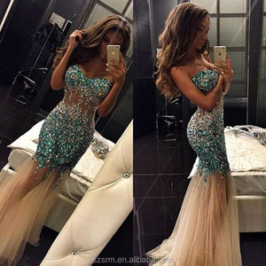 Luxury Sweetheart Mermaid Tulle Party Wear Gowns Beaded Sleeveless Sequined Zipper 2018 Evening Dresses
