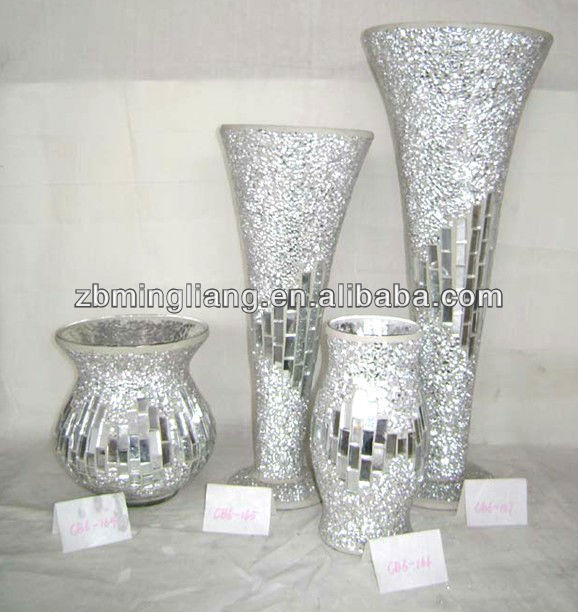 silver mosaic glass vases