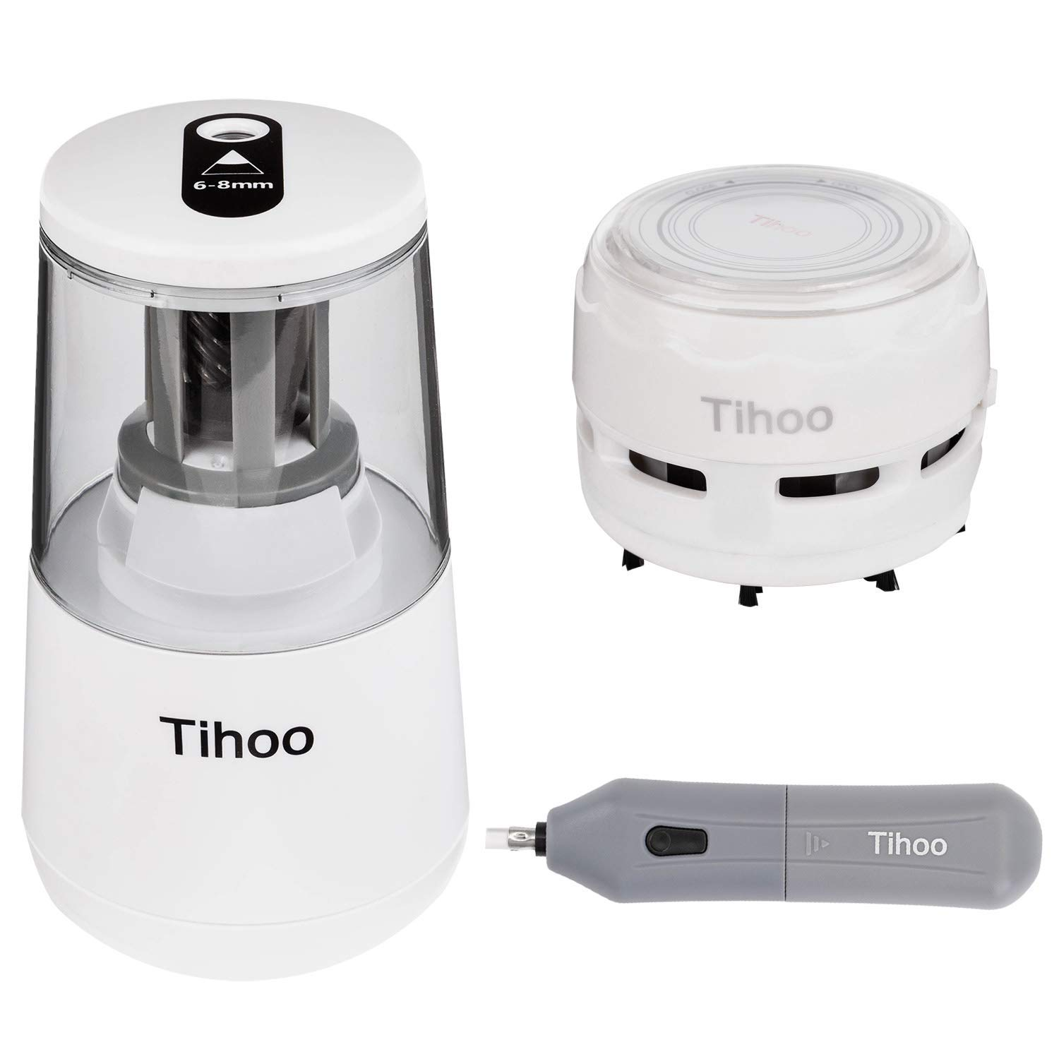 TOROTON Electric Pencil Sharpener Set, with Electric Eraserr and Mini Desk Vacuum. Auto Stop for 6-8mm Pencils, USB/AA Battery Operated in School Classroom/Office/Home(USB/AC Adapter Included)