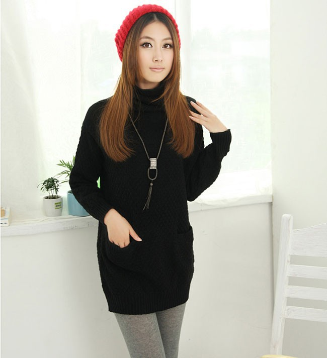 dd48c47975 Wholesale-Oversized Women Long Thin Winter Sweaters Knitted Loose Design  Turtleneck Sweaters And Pullovers Pockets Winter Clothing S9