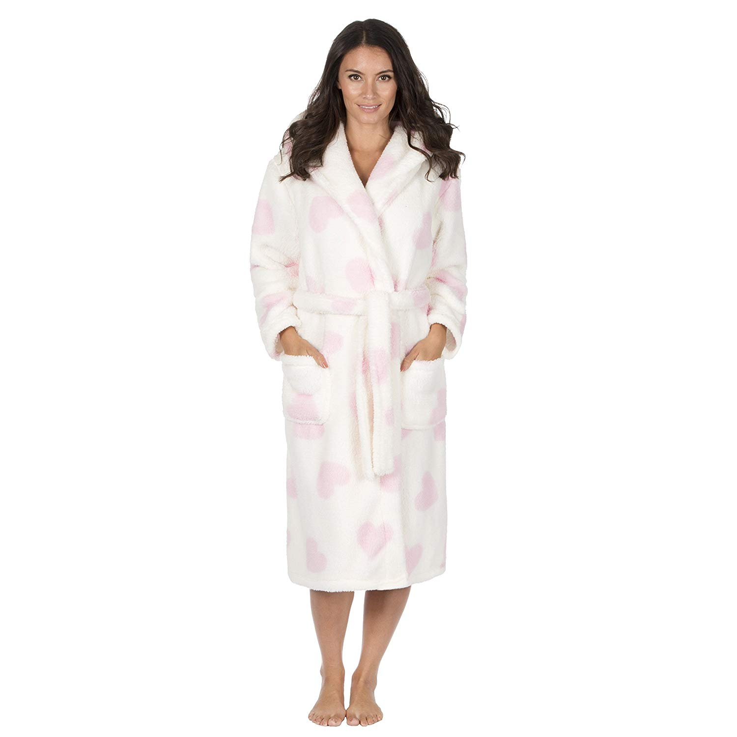Get Quotations · Forever Dreaming Women s Fluffy Snuggle Fleece Dressing  Gown - Luxury Heart Print Hooded Robe dfc9db0c8