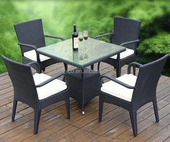 Outdoor Leisure Rattan Table Set, Glass Top Outdoor Table Furniture