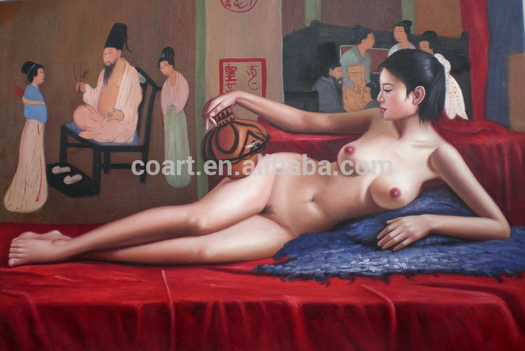 2016 open handpainted hot sexy girl oil painting