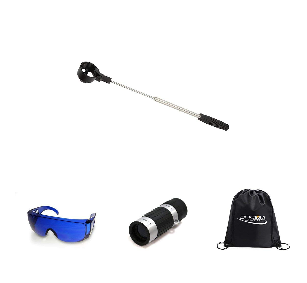 POSMA BR050I Golf 5 section Retrectable 2m Golf Ball Retriever Bundle Set with 1pc Golf Ranger Finder(GF100) + 1pc Golf Ball Finder Hunter Retriever Glasses + 1pc black cinch sack carry bag