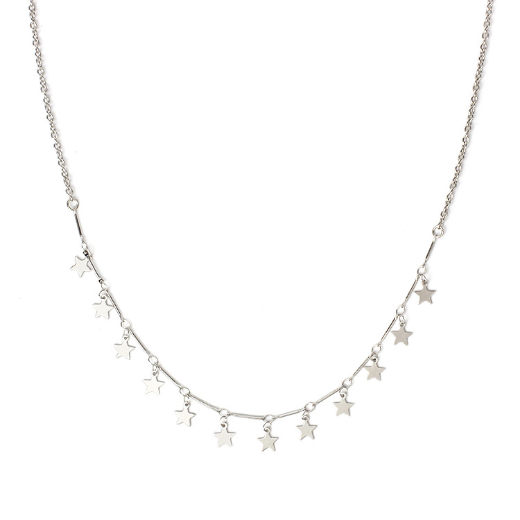Europe retro style Silver brilliant chian necklace with different charms pendant star nacklace