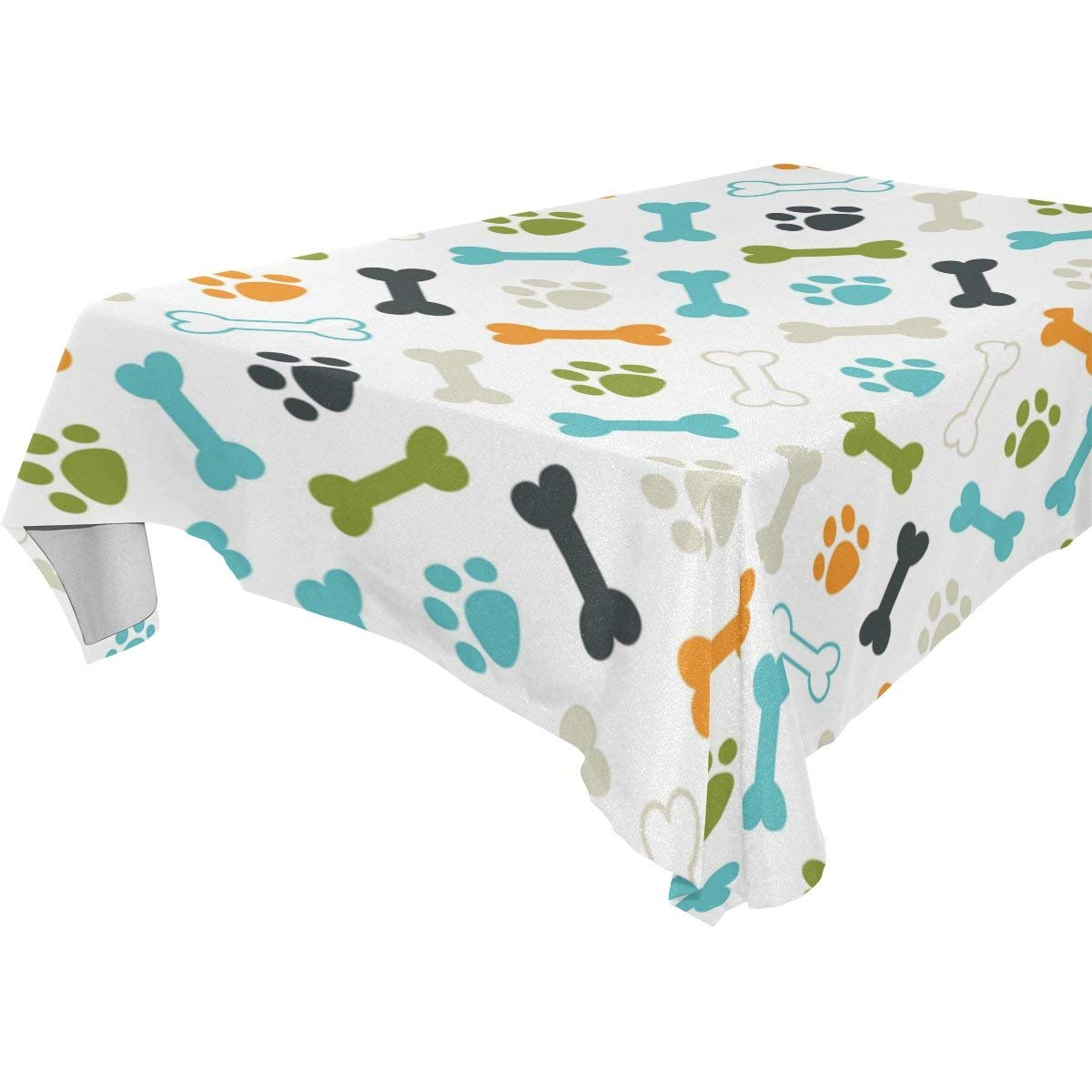 WOZO Rectangular Colorful Puppy Dog Paw Print Footprint Tablecloth Table Cloth Cover for Home Decor Dinner Kitchen Party Picnic Wedding Halloween Christmas 60x108 inch