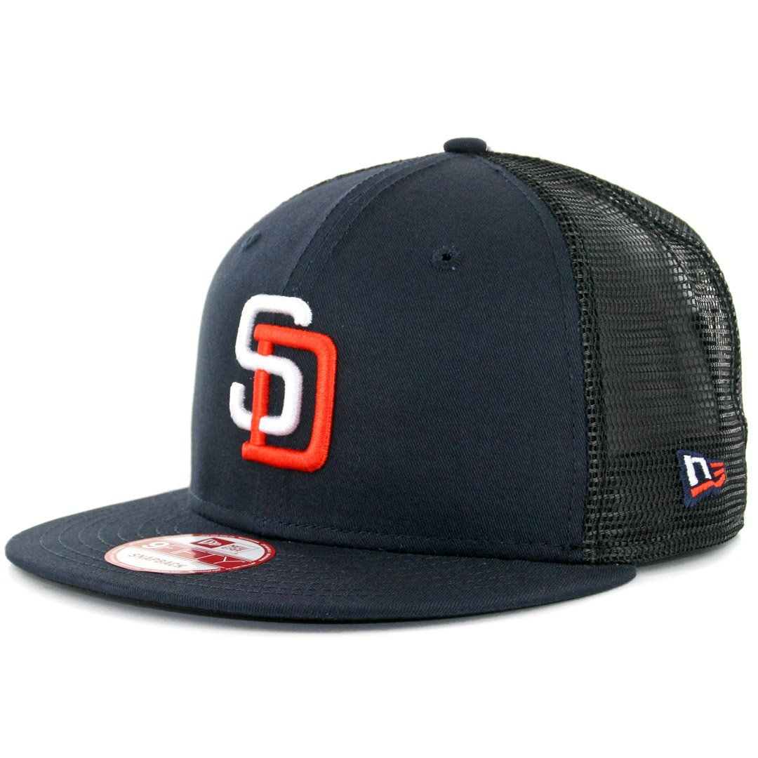 2326e45f3a0 Get Quotations · New Era 950 San Diego Padres Tony Gwynn 4 Trucker Snapback  Hat Navy Mens MLB Cap