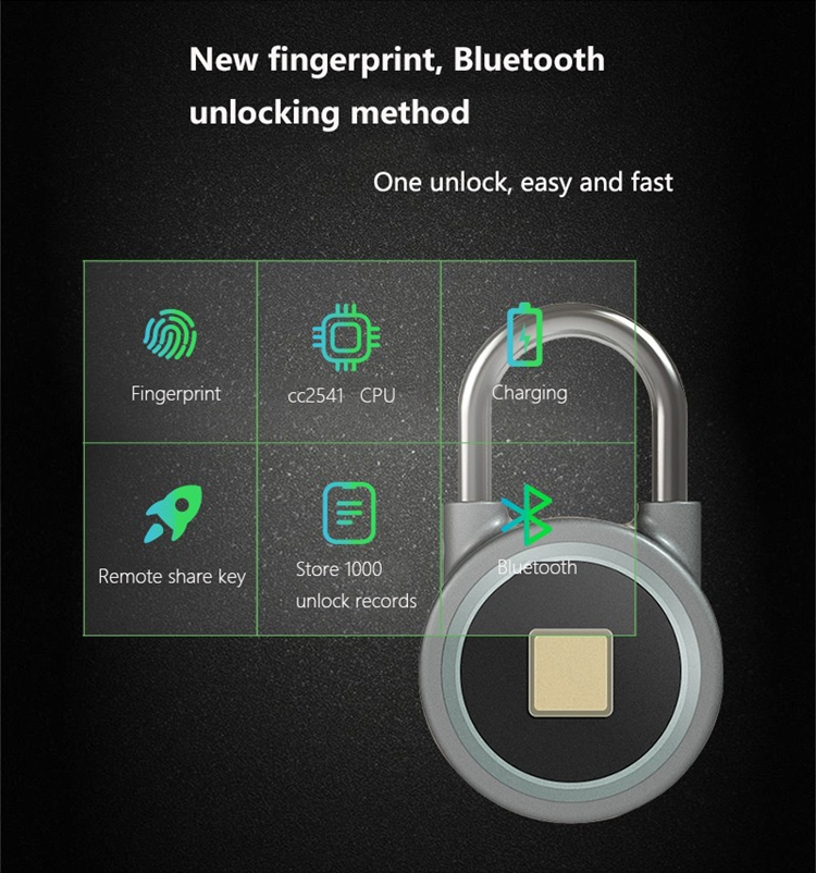 Bluetooth app pad lock with remote share Keyless Waterproof iOS/Android APP