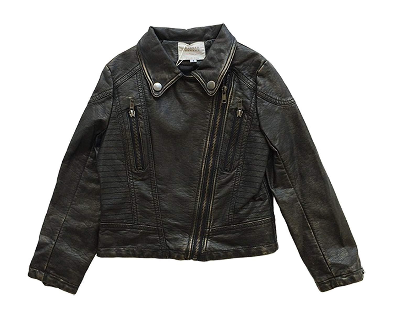 Hannah Banana Little Girl Faux Leather Moto Jacket Black