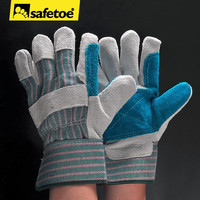 Double palm cowhide leather safety gloves for heavy work FL-1015B