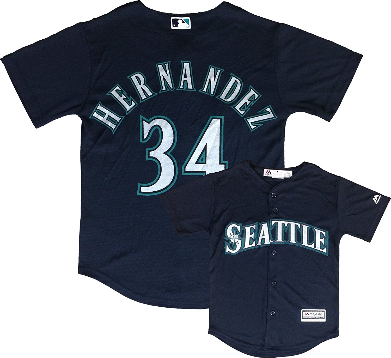 Outerstuff Felix Hernandez Seattle Mariners Navy Blue Youth Authentic Alternate Replica Jersey
