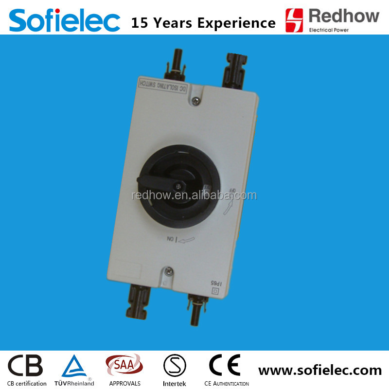 IP66 1000V double pole DC 16A 25A 32A Outdoor Solar isoltor Switch Disconnector with MC4 Connectors TUV SAA CE Certified