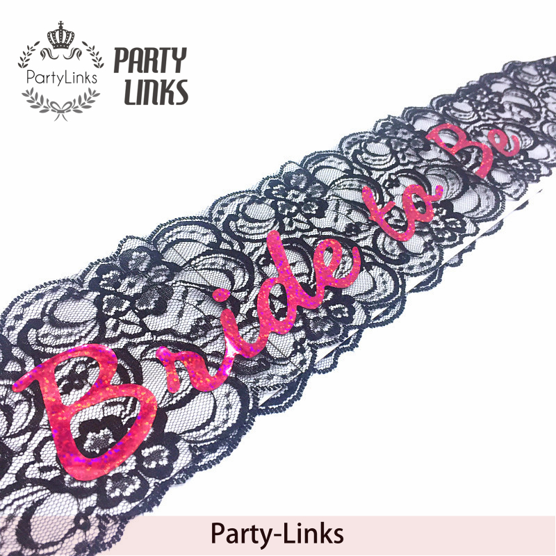 Black Pink White Lace Bride To Be Bride Sash For Bachelorette / hen party