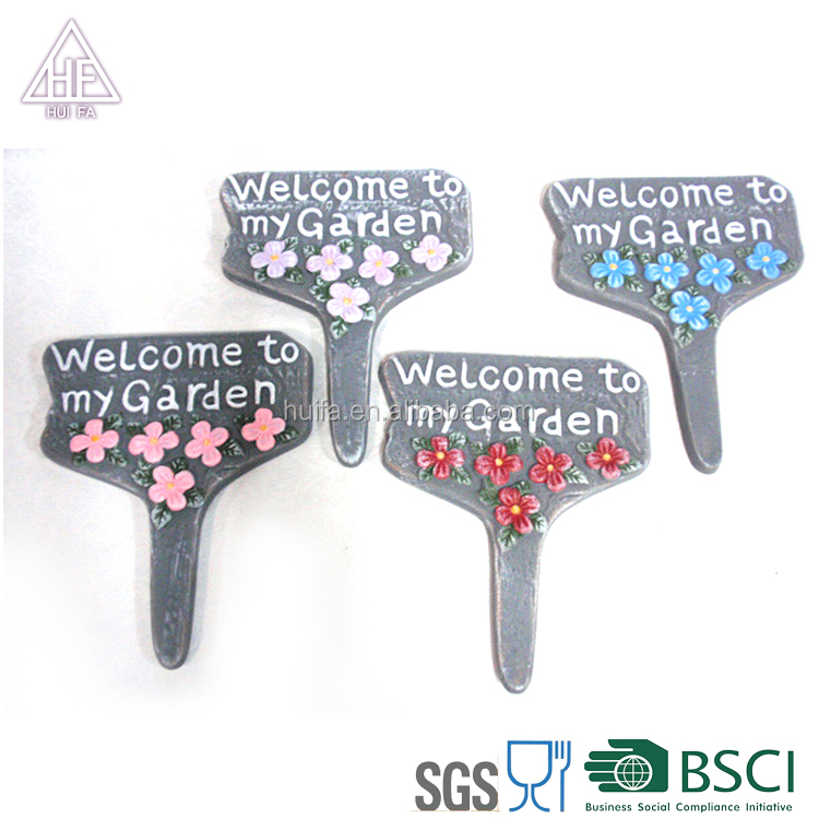 Ceramic garden road signs with welcome to our garden for inner and outer garden decoration