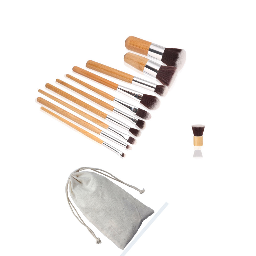 Wholesale Cheap Vegan 11 Piece Kabuki Bamboo Handle Makeup Brush Set For Custom Logo Factory, Cosmetic Brushes Travel Kit