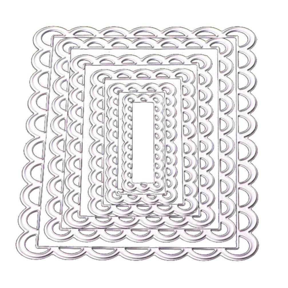 Cutting Dies,Pollyhb New Metal Cutting Dies Stencil DIY Embossing,For Card Making,Rectangle Flowers Scenery (F)