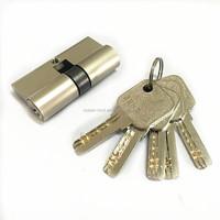 60mm euro profile brass key cylinder lock with nickel brush finish