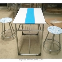 Kitchen Breakfast Bar Table With shelf And Stools For Couple