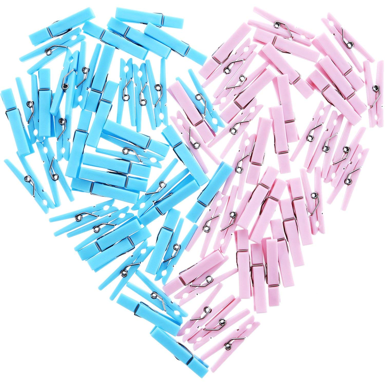 Hestya 80 Pieces Mini Clothespins Baby Shower Clothes Pins Plastic Small Clips for Party Favors, Blue and Pink