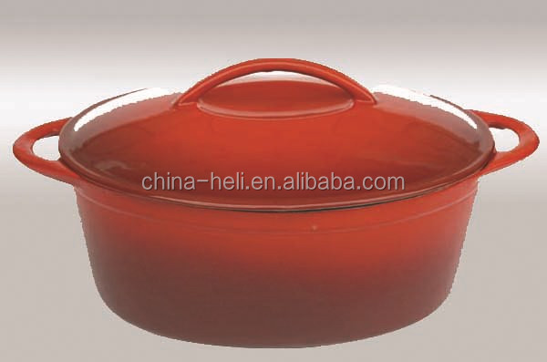 Oval european porcelain coated cast iron cookware with unibody knob
