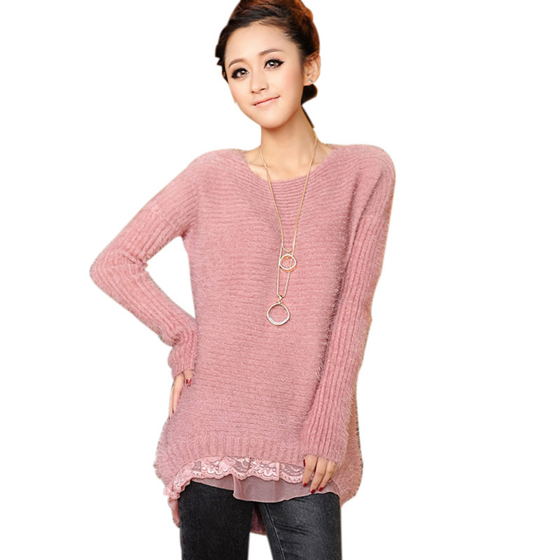 29a40485853fed Get Quotations · Poncho Sueter Autumn 2015 Korean Style Women Sweater Dress  Clothing Pullover Female Mohair Sweaters Winter Long