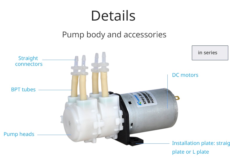 Kamoer 12v adjustable flow rate small double head peristaltic pump