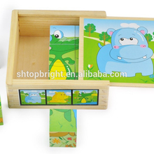 baby toys wholesale animal photos distinction offset print 6 different designs 24 pcs puzzles in wooden box