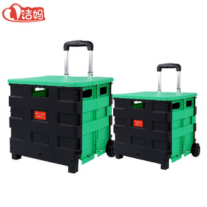 Factory Wholesale Foldable plastic cart folding hand push shopping trolley