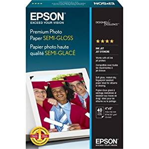"Epson Premium Semigloss Photo Paper - Semi-Gloss Photo Paper - 4 In X 6 In - 40 Sheet(S) - For Artisan 50, 700, 710, 800, 810, Stylus Pro 38Xx, Stylus Photo R2880, R380, Workforce 1100 ""Product Type: Supplies & Accessories/Paper Supplies"""